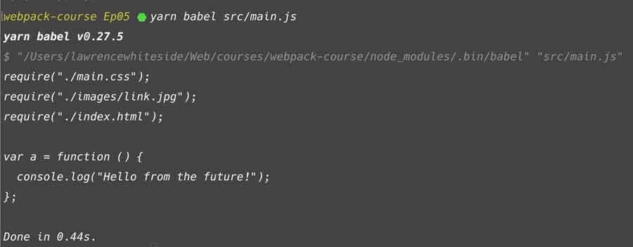 Babel CLI output