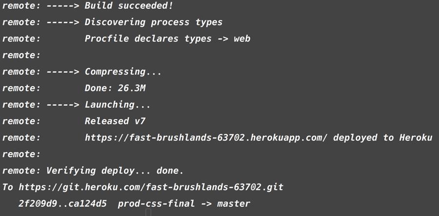 Heorku Build output