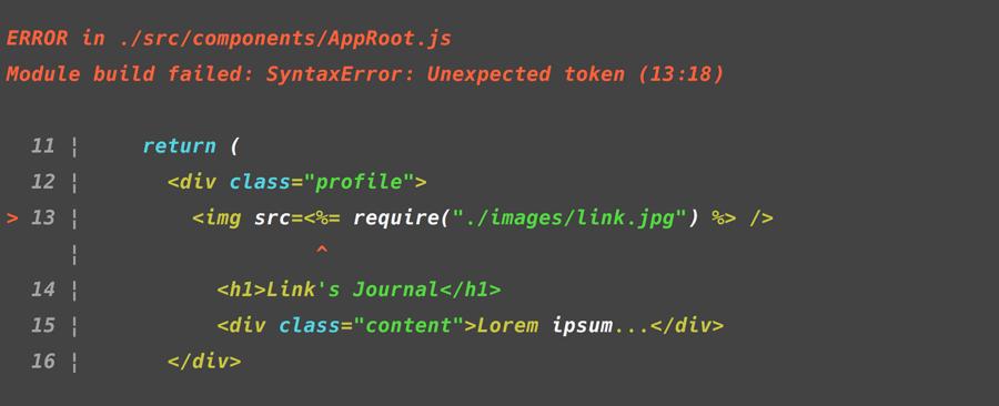 EJS Syntax error in React