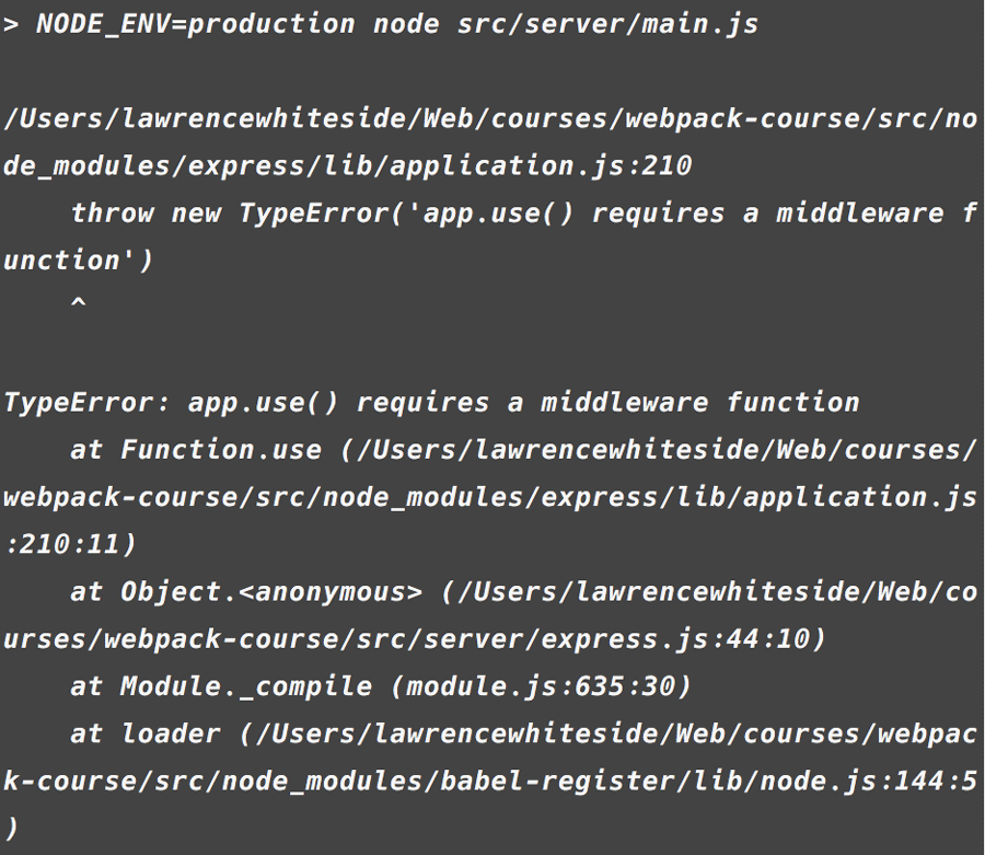 Error app.use requires a middleware function