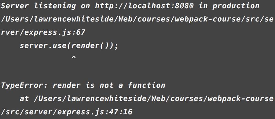 TypeError: render is not a function